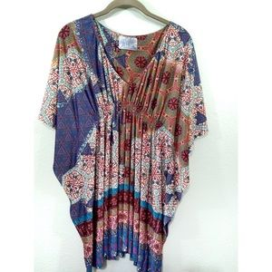 Zara Trafaluc Tunic Top Mixed Print Empire Waist M